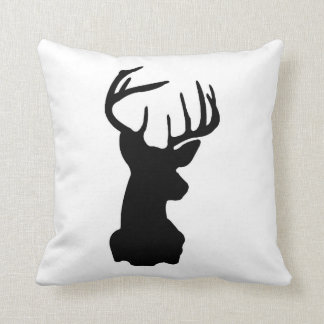 Black & White Stag Head Throw Pillow