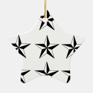 Black & White Stars Ceramic Star Ornament