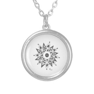 Black & White Start Mandala Silver Plated Necklace