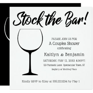 Black & White Stock the Bar Script Couples Shower Card