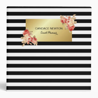 Black & White Stripe and Gold With Vintage Roses 3 Ring Binders