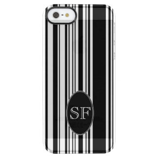 Black White Stripe Barcode Monogram Clear iPhone SE/5/5s Case