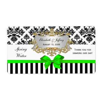 Black White Stripe Damask Lime Green Water Label Shipping Label