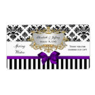 Black White Stripe Damask Purple Water Label