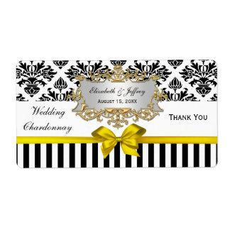 Black White Stripe Damask Yellow Party Wine Label Shipping Label