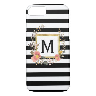Black & White Stripe Elegant Monogram Personalized iPhone 8/7 Case