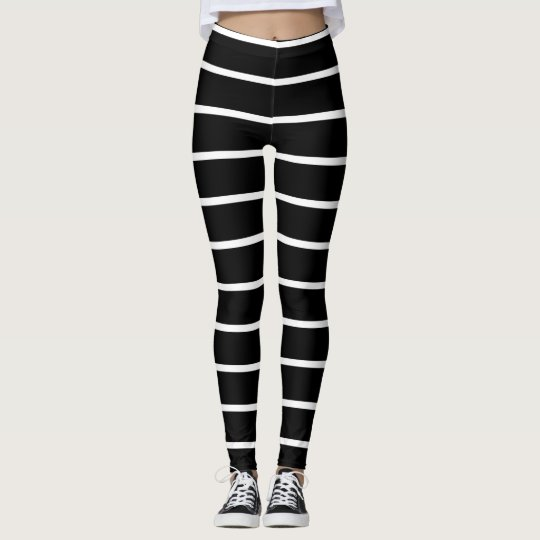 Black White Stripe Fashion Trendy Style Fun Leggings