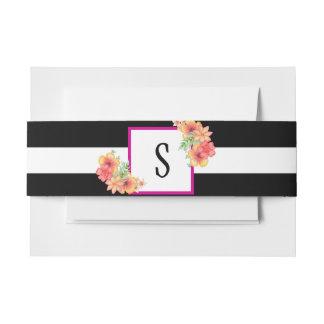 Black & White Stripe Floral Envelope Belly Band Invitation Belly Band