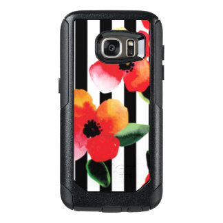 Black White Stripe Flowers Pattern Print OtterBox Samsung Galaxy S7 Case