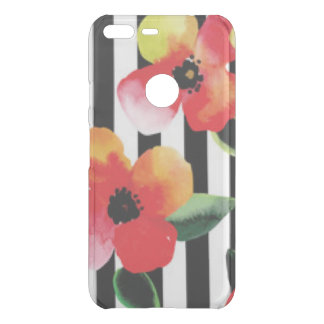 Black White Stripe Flowers Pattern Print Uncommon Google Pixel XL Case