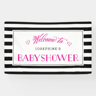 Black White Stripe Fuchsia Mom to Be | Baby Shower Banner