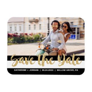 Black White Stripe & Gold Text Save the Date Photo Magnet