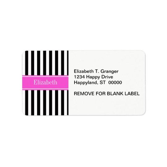 Black White Stripe Hot Pink Ribbon Name Monogram Label