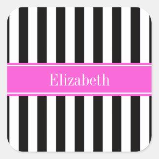 Black White Stripe Hot Pink Ribbon Name Monogram Square Sticker