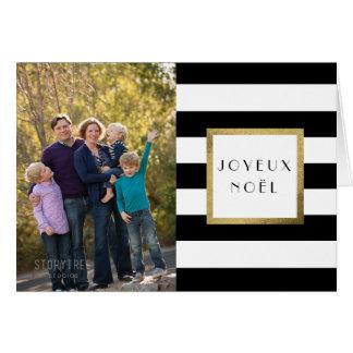 "Black & White Stripe ""Joyeux Noël"" Photo Xmas Greeting Card"