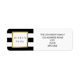 "Black & White Stripe ""Joyeux Noël"" Xmas Address Return Address Label"