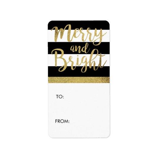 "Black & White Stripe ""Merry & Bright"" Xmas Gift Label"