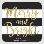 "Black & White Stripe ""Merry & Bright"" Xmas Gift Square Sticker"