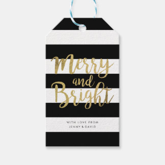 "Black & White Stripe ""Merry & Bright"" Xmas Gift Tags"