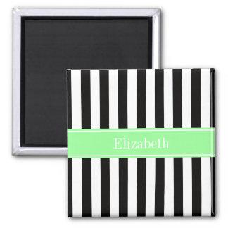 Black White Stripe Mint Ribbon Name Monogram Square Magnet
