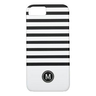Black & White Stripe Monogram iPhone 8/7 Case