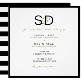 Black & White Stripe Monogram Wedding Invitations