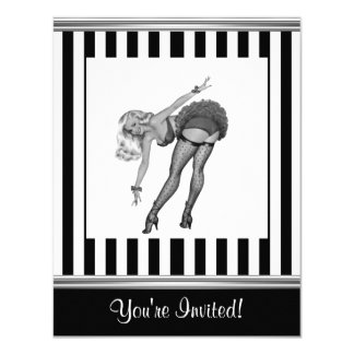 Black & White Stripe Pin-Up Girl 19 Card