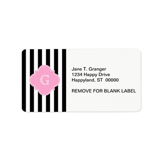 Black White Stripe, Pink Quatrefoil Monogram Label
