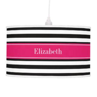 Black White Stripe Raspberry Ribbon Name Monogram Hanging Lamps
