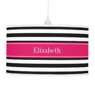 Black White Stripe Raspberry Ribbon Name Monogram Pendant Lamp