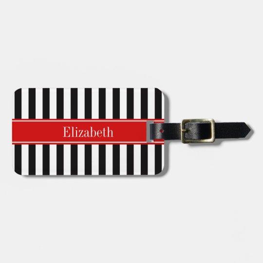 Black White Stripe Red Ribbon Name Monogram Bag Tag