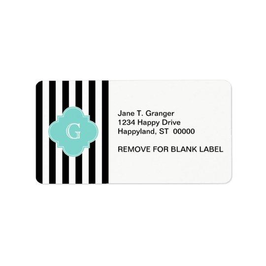 Black White Stripe Turquoise Quatrefoil Monogram Label