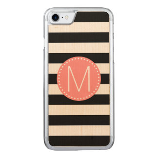 Black & White Stripe with Coral Monogram Carved iPhone 7 Case