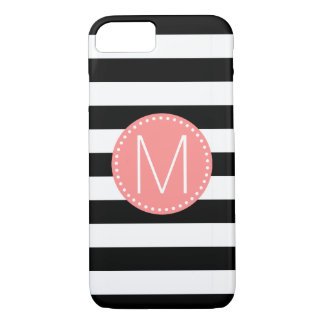 Black & White Stripe with Coral Monogram iPhone 8/7 Case