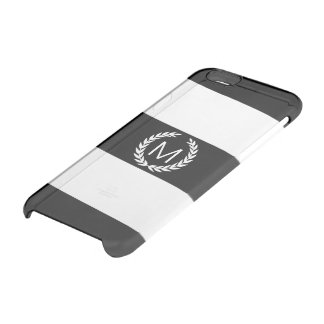 Black & White Stripe with Laurel Wreath Monogram Clear iPhone 6/6S Case