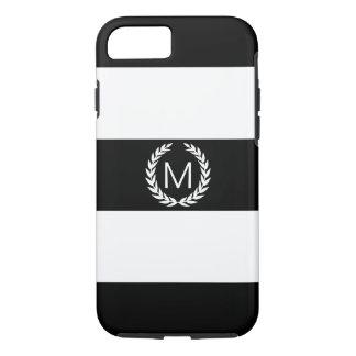 Black & White Stripe with Laurel Wreath Monogram iPhone 7 Case
