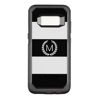 Black & White Stripe with Laurel Wreath Monogram OtterBox Commuter Samsung Galaxy S8 Case