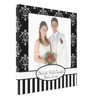 Black & White Striped Baroque Add A Photo Frame Up Gallery Wrapped Canvas