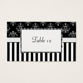 Black & White Striped Baroque Table Business Card
