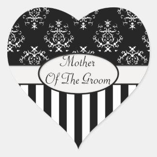 Black & White Striped Baroque Wedding Party Heart Sticker