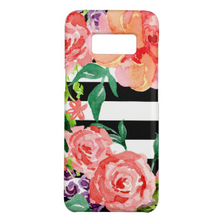 Black White Striped Floral Pink Rose Purple Flower Case-Mate Samsung Galaxy S8 Case