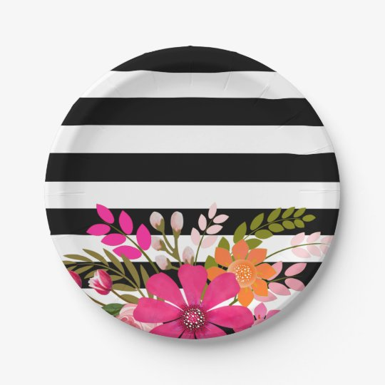 Black & White Striped Folklore Flowers | fuchsia Paper Plate