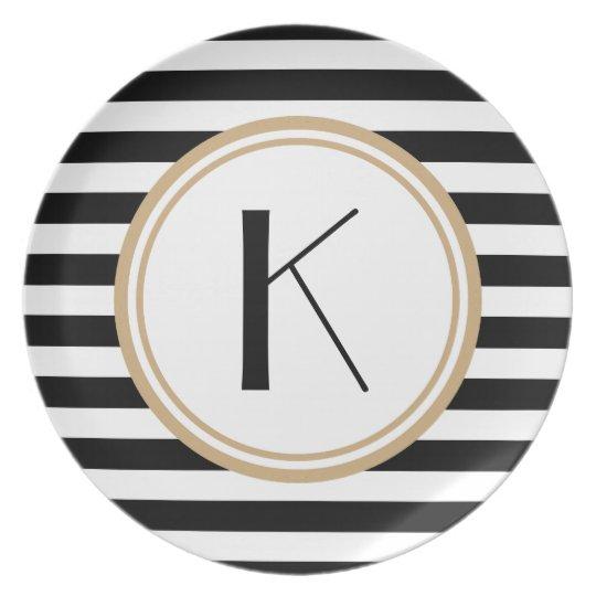Black & White Striped Monogram Dinner Plate
