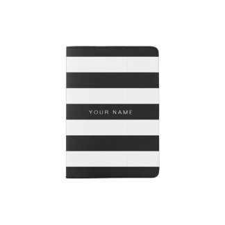 Black & White Striped Passport Holder