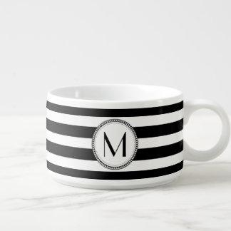 Black | White Striped Pattern Monogram Chili Bowl