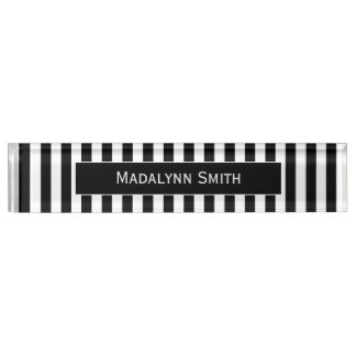 Black/White Striped Pattern with Executive Name Name Plate