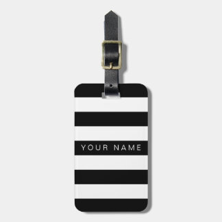 Black & White Striped Personalized Luggage Tags