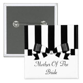 Black & White Striped Wedding Classic 2 Inch Square Button