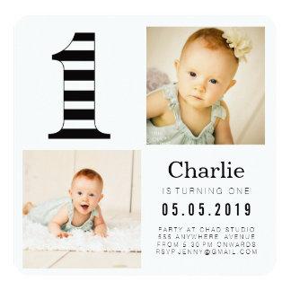 Black & White Stripes 1st Birthday Photo Cards