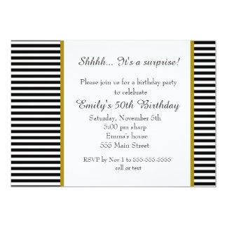 Black White Stripes Adult Birthday Invitation